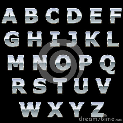Free Chrome Metal Shiny Letters Stock Photos - 29324983
