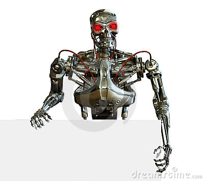 Chrome Robot with Sign Edge