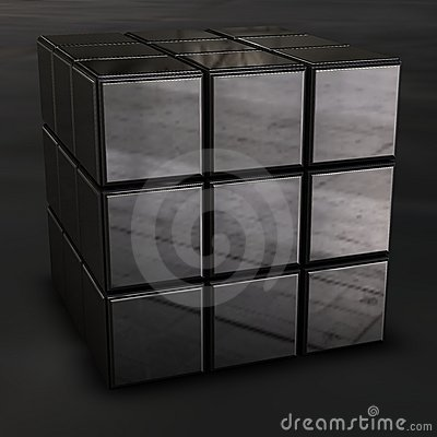 Chrome rubik cube Editorial Image