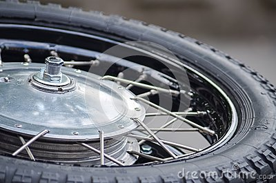 Chrome tire of vintage motobike