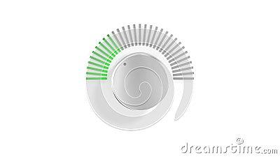 Chrome-Volumen-Griff, der sich oben mit Belichtungsmesser des Spektrum-LED über Weiß dreht Abbildung 3D stock abbildung