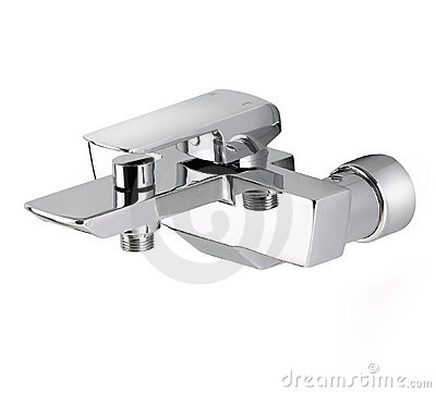 Chrome wall type faucet