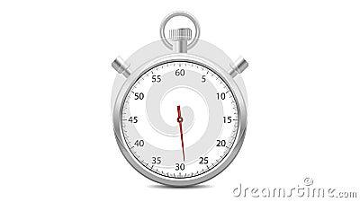 Chronometer met een roterende rode wijzer Voorwaartse tellende opeenvolging van 0 tot 60 seconden stock illustratie