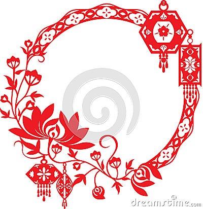 Chrysanthemum And Chinese Lanterns Graphic Design Royalty ...