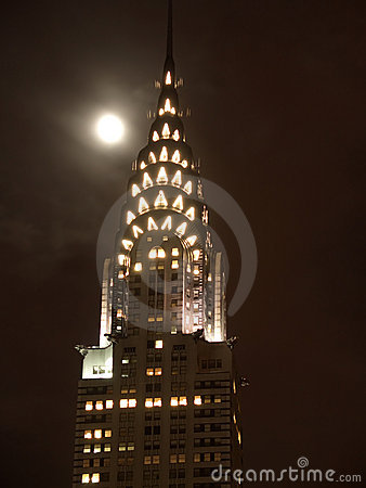 Chrysler Building top by night