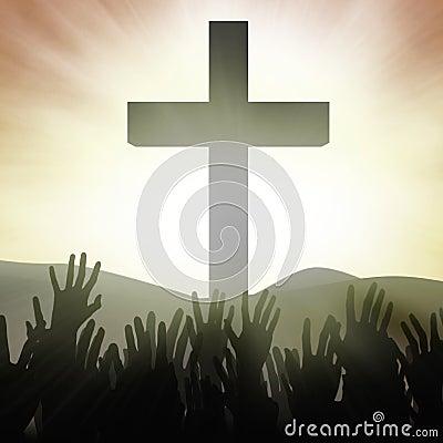 Chrześcijańscy adoratorzy przy krzyżem