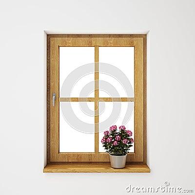 Ch ssis de fen tre en bois avec le pot de fleurs sur le for Fenetre d interieur castorama