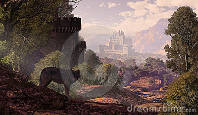 Château et loup dans les bois