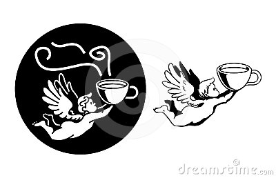 Chubby angel flying fast with coffee mug