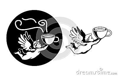 Chubby angel flying fast with coffee mug