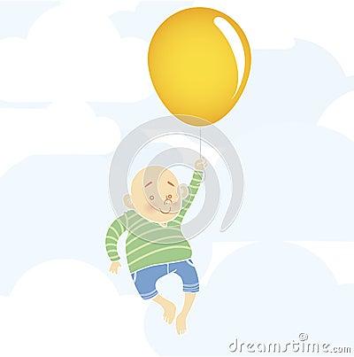 Chubby boy with balloon