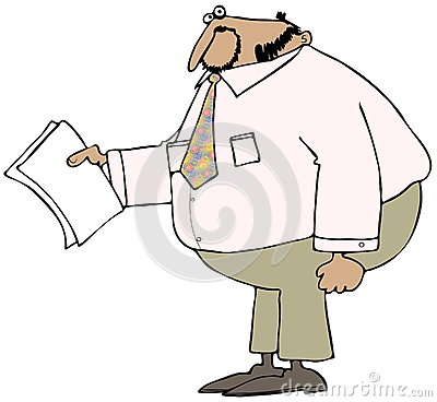 Chubby businessman holding papers