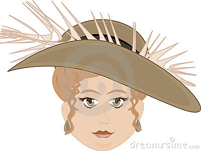 Chubby Faced Woman Wearing Feather Hat