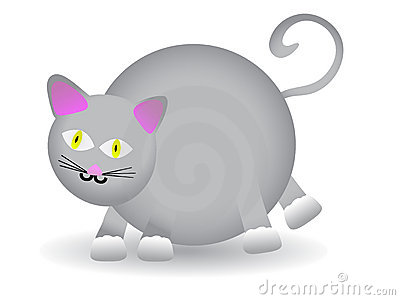 Chubby Round Gray Cat VECTOR