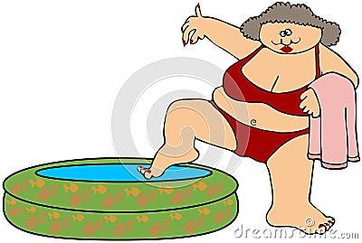 Chubby Woman In Bikini