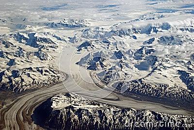 The Chugach Mountains from air
