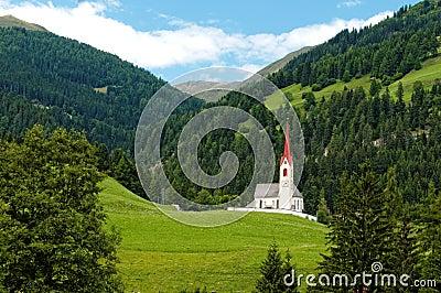 Church in Alpine valley
