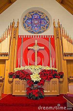 Free Church Altar With Poinsettias Royalty Free Stock Photos - 3855418