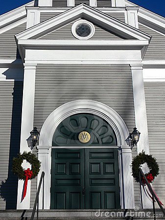 Church: arched entry with wreaths
