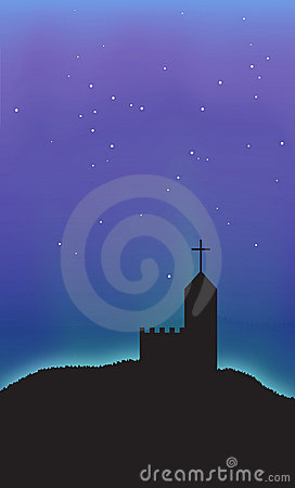 Church Aurora Night Sky Scene Abstract Background