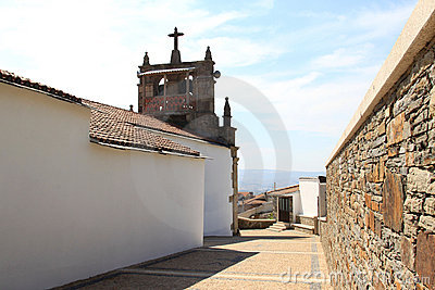 Church with belfry in the village Babe, Portugal