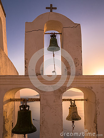 Free Church Bell Tower At Sunset In Santorini, Greece Royalty Free Stock Images - 41472989