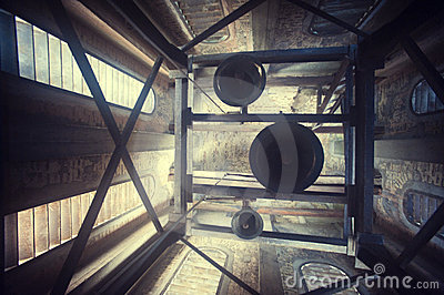 Church bells in a tower
