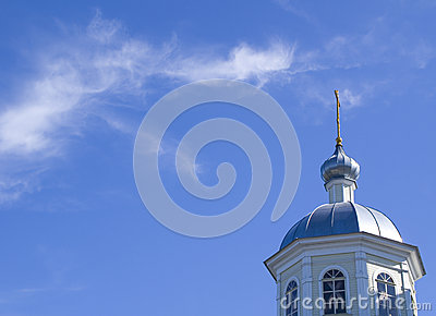 Church on blue sky background