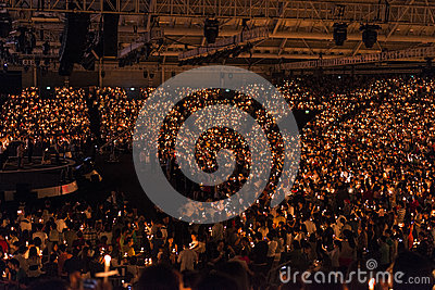Church Candle Light Service Editorial Stock Image