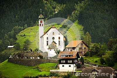 Church and Chalets, Switzerland