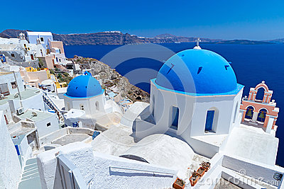 Church Cupolas of Oia town on Santorini island