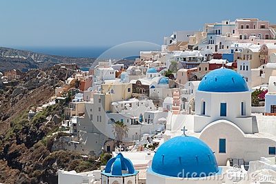 Church Cupolas and the Tower Bell from Santorini