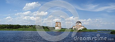 Church in Dnipro river
