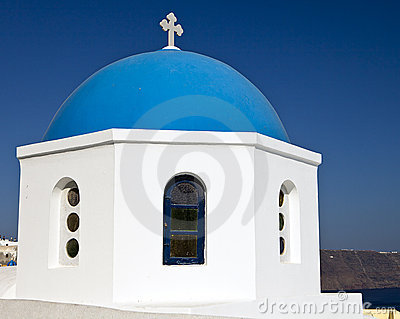 Church Dome On Santorini
