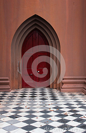 Church door checkered floor