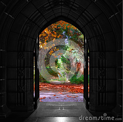 Free Church Doors Opening Out Onto Beautiful, Colorful Forest Royalty Free Stock Photos - 47733918
