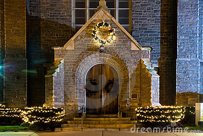 Church Entrance at Night