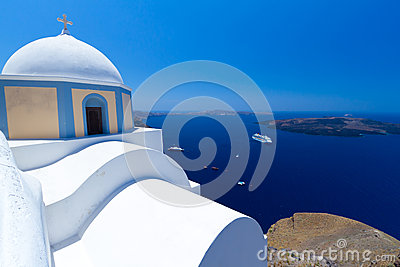 Church of Fira village at Santorini island