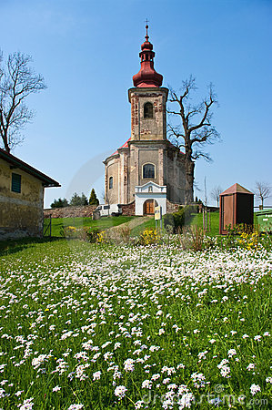 Church and fresh meadow