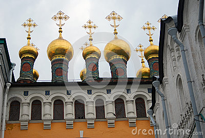 Church golden domes in Moscow Kremlin.