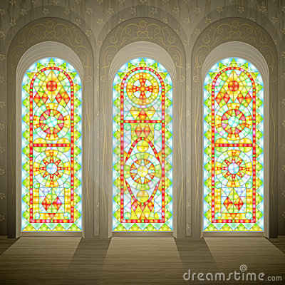 Church gothic stained glass windows