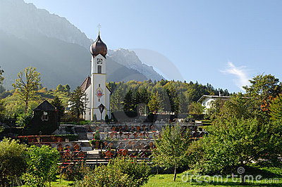 The church in Grainau with Zugspitze 03