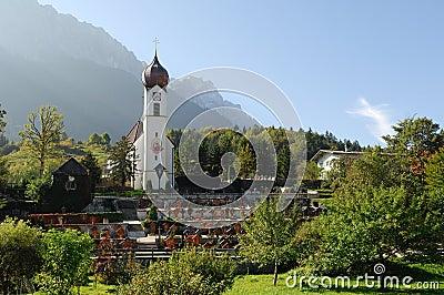 The church in Grainau with Zugspitze 03