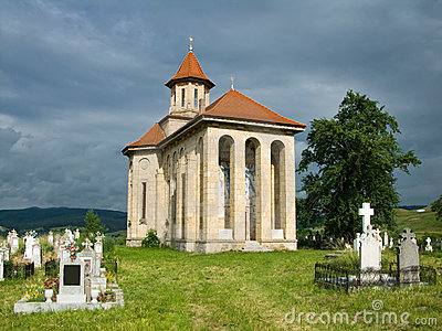 Church and graveyard in Romania
