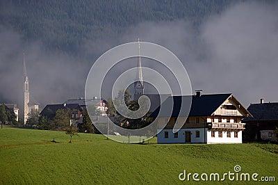 Church in haze