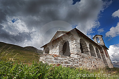 Church in high mountain