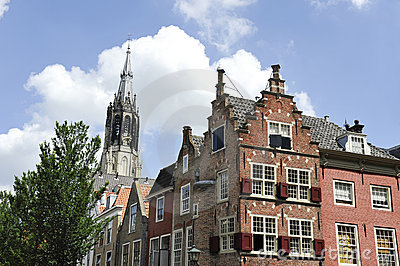Church and houses in Delft