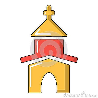 Church icon, cartoon style Vector Illustration