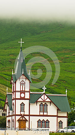 Free Church In Husavik, Small Town And Harbor In North Iceland Royalty Free Stock Photography - 62425847