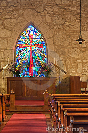Church Interior With Stained Glass Window Royalty Free Stock Photos Image 19188968